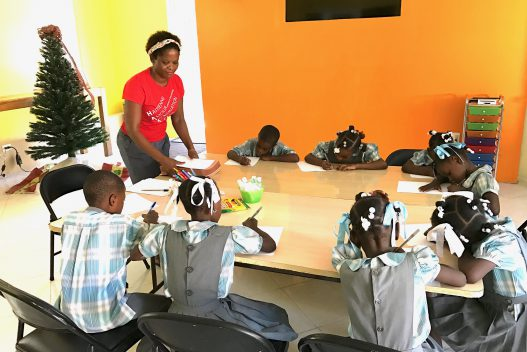 Mosenie in Haiti with kids