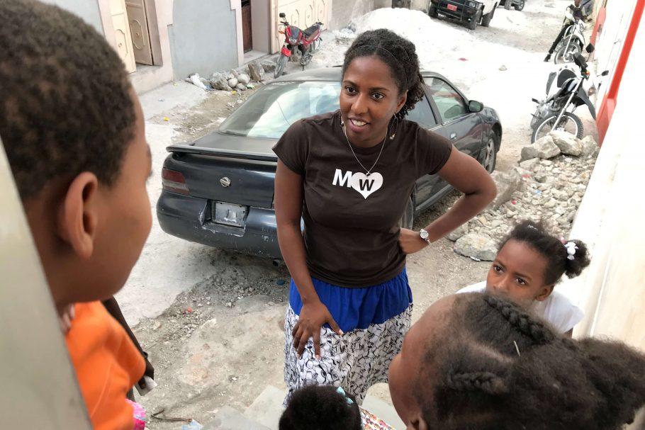 Ambassador Marli gives children in Haiti pep talk