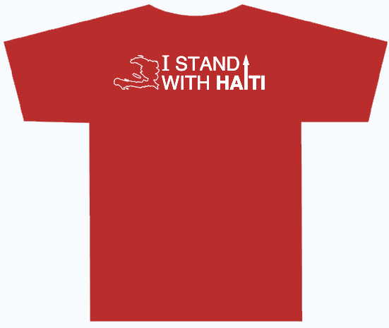 I Stand With Haiti red T-shirt